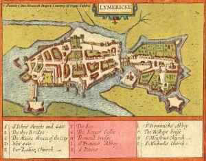 16th century map of Limerick City 1610