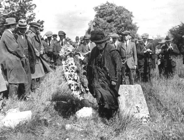 After being executed in secret the bodies of the 13 leaders of the 1916 Rising and Padraig Pearse's younger brother William were thrown on the back of a truck and dumped into a lime pit at Arbour Hill Barracks with no funeral rites allowed for the deeply spiritual men. Picture shows Margaret Pearse at the pit where her two sons were thrown.
