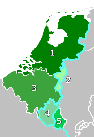 The Netherlands, Belgium, Luxembourg and Limburg in 1839 1, 2 and 3 United Kingdom of the Netherlands (until 1830) 1 and 2 Kingdom of the Netherlands (after 1830) 2 Duchy of Limburg (1839–1867) (in the German Confederacy after 1839 as compensation for Waals-Luxemburg) 3 and 4 Kingdom of Belgium (after 1830) 4 and 5 Grand Duchy of Luxembourg (borders until 1830) 4 Province of Luxembourg (Waals-Luxemburg, to Belgium in 1839) 5 Grand Duchy of Luxembourg (German Luxemburg; borders after 1839) In blue, the borders of the German Confederation.