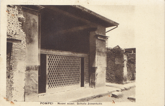 "Postcard produced by R&C (which I think is the Richter and Conti studio out of Naples) number 1004 15, Titled ""POMPEI – Nuovi scavi. Schola Juventutis"" (reverse in English, French and German) dimensions 137mm x 88mm. Postcard has been used but post stamp is illegible, author of message however dates the card as 19th September 1933."
