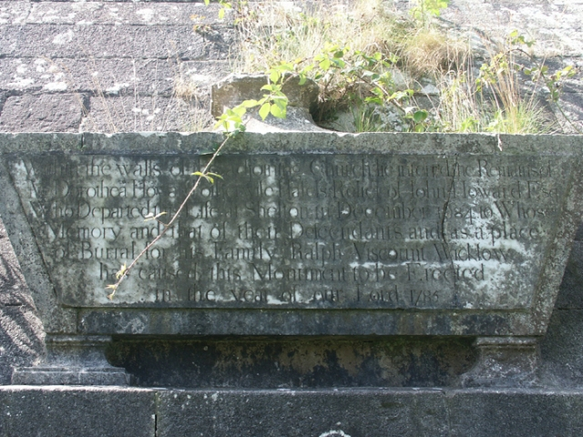 Figure 2: A view of the sarcophagus inscribed: Within the walls of the adjoining Church lie interr'd the Remains of/M. Dorothea Howard otherwise Hassels Relict of John Howard Esq./Who Departed this Life at Shelton in December 1684 to Whose/Memory and that of their Descendants and as a place/of Burial for his Family Ralph Viscount Wicklow/has caused this Monument to be Erected/in the year of our Lord 1785
